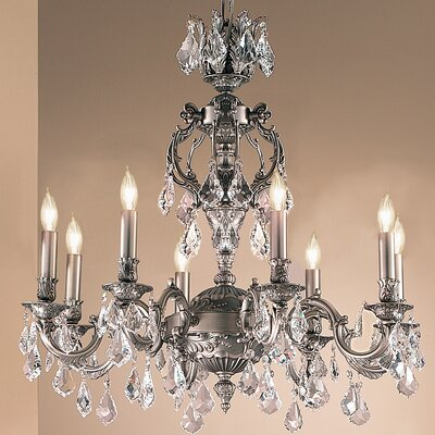 Chateau 8-Light Crystal Chandelier Finish: Aged Pewter, Crystal Type: Crystalique Golden Teak
