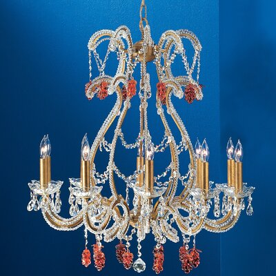 Aurora 10-Light Crystal Chandelier Crystal Type: Grape Cluster Amber, Finish: Olde Gold