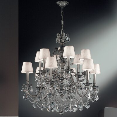 Chateau Imperial 12-Light Shaded Chandelier Finish: Aged Pewter, Crystal Type: Crystalique Golden Teak