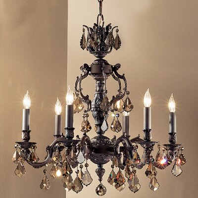 Chateau 6-Light Crystal Chandelier Crystal Type: Crystalique Golden Teak, Finish: Aged Pewter
