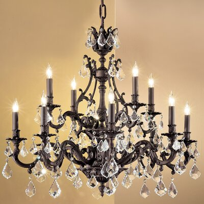 Majestic 12-Light Crystal Chandelier Crystal Type: Crystalique Golden Teak, Finish: Aged Pewter