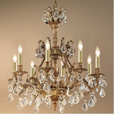 Majestic 8-Light Crystal Chandelier Crystal Type: Swarovski Elements Golden Teak, Finish: French Gold