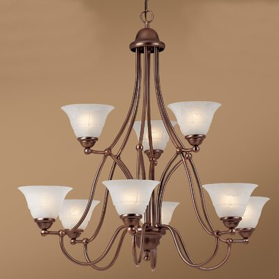 Providence 9-Light Shaded Chandelier Glass Color: White Alabaster, Finish: Rustic Bronze