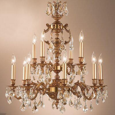 Chateau 12-Light Crystal Chandelier Finish: Aged Pewter, Crystal Type: Swarovski Elements Golden Teak