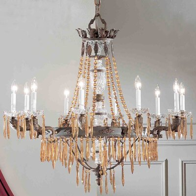 Duchess 10-Light Crystal Chandelier Crystal Type: Italian, Finish: Bronze with Black Patina