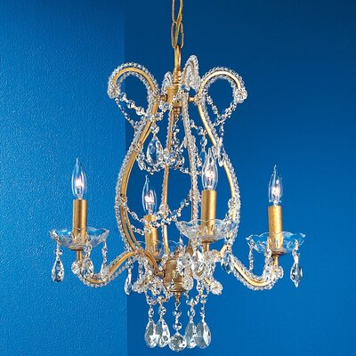 Aurora 4-Light Crystal Chandelier Crystal Type: Prisms Amber, Finish: Olde Gold