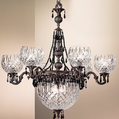 Waterbury 9-Light Shaded Chandelier Crystal Color: Crystalique Black