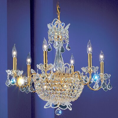 Crown Jewels 6-Light Crystal Chandelier Crystal: Swarovski Strass, Finish: Gold Plated