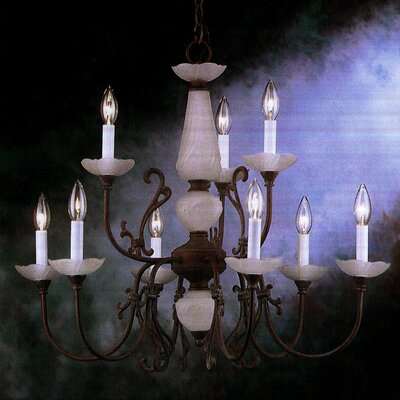 Bloomington 9-Light Candle-Style Chandelier Finish: Verde/Polished Brass