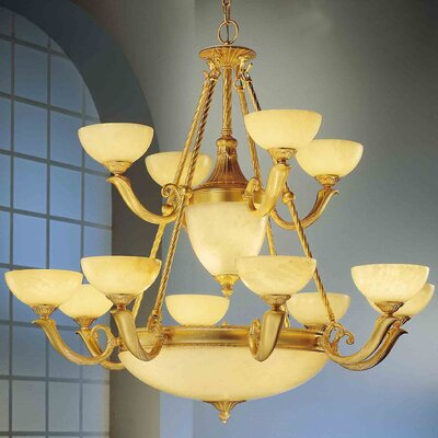 Valencia 17-Light Shaded Chandelier Finish: Gold Matte
