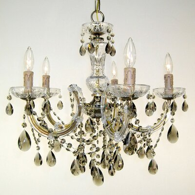 Rialto 5-Light Crystal Chandelier Finish: Rennovation Brass, Crystal: Crystalique-Plus Golden Teak