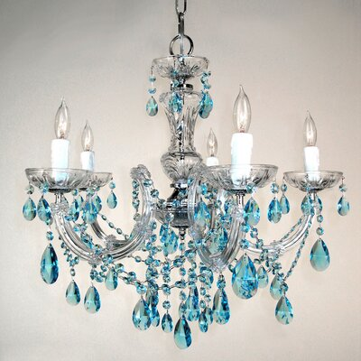 Rialto 5-Light Crystal Chandelier Finish: Chrome, Crystal: Crystalique Sapphire