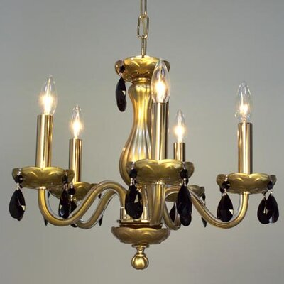 Monaco 5-Light Crystal Chandelier Finish: Gold Painted, Crystal: Crystalique Black