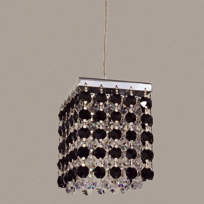 Bedazzle 1-Light Mini Pendant Shade Color: Black and Clear