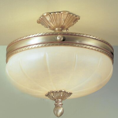 Alexandria I 4-Light Semi-Flush Mount Finish: Satin Bronze with Brown Patina, Crystal Type: Without Crystal