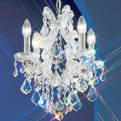 Maria Thersea 4-Light Crystal Chandelier Crystal Type: Swarovski Spectra, Finish: Olde World Gold