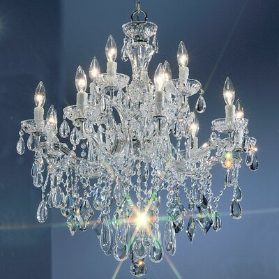 Rialto 12-Light Crystal Chandelier Finish: Chrome