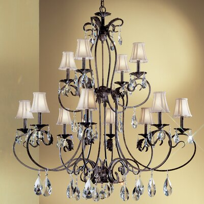 Manilla II 12-Light Shaded Chandelier Crystal Type: Crystalique