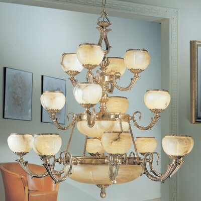 Alexandria I 24-Light Shaded Chandelier Finish: Satin Bronze with Brown Patina, Crystal Type: Without Crystal
