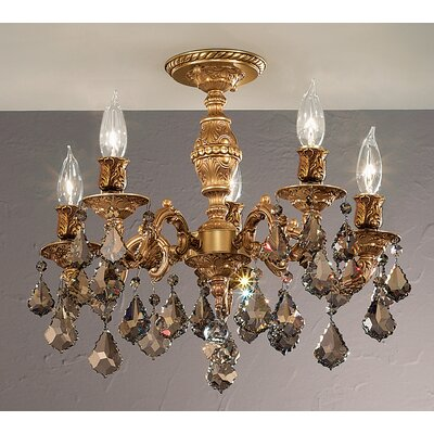Chateau 5-Light Semi-Flush Mount Finish: Aged Bronze, Crystal Type: Crystalique Golden Teak