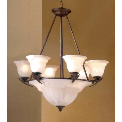 Roma 9-Light Shaded Chandelier Finish: Bronze