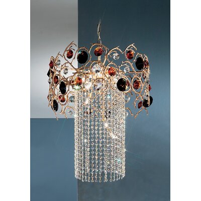 Foresta Colorita 8-Light Crystal Chandelier Finish: Natural Bronze, Crystal Type: Smoke and Amber