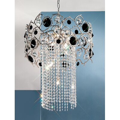 Foresta Colorita 8-Light Crystal Chandelier Finish: Silver Frost, Crystal Type: Black and Red