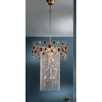 Foresta Colorita 15-Light Crystal Chandelier Finish: Silver Frost, Crystal Type: Black and Red