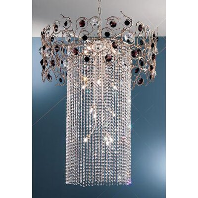 Foresta Colorita 15-Light Crystal Chandelier Finish: Silver Frost, Crystal Type: Black and Amethyst