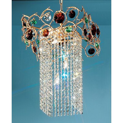 Foresta Colorita 6-Light Crystal Chandelier Finish: Silver Frost, Crystal Type: Black and Red