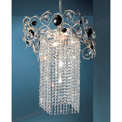 Foresta Colorita 6-Light Crystal Chandelier Finish: Silver Frost, Crystal Type: Black and Smoke