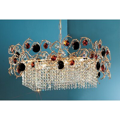 Foresta Colorita 8-Light Crystal Chandelier Finish: Natural Bronze, Crystal Color: Smoke/Amber