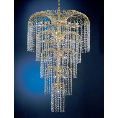 Sprays 26-Light Crystal Chandelier Crystal Type: Swarovski Elements Golden Teak