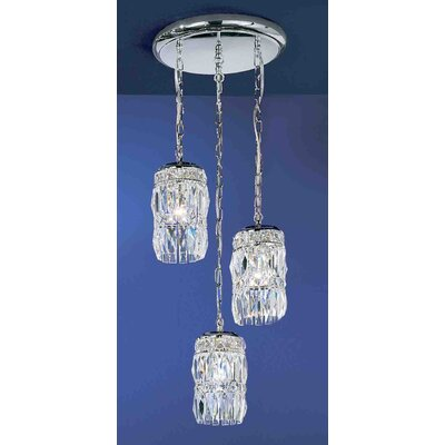 Cascade 3-Light Cascade Pendant Crystal Type: Rose, Finish: English Bronze with Gold
