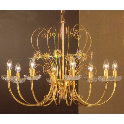 Belleair 8-Light Candle-Style Chandelier Finish: Gold Plate