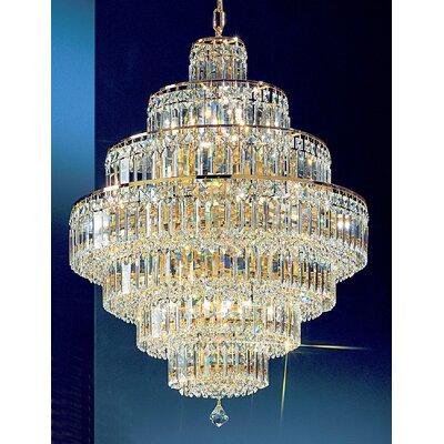 Ambassador 18-Light Crystal Chandelier Finish: 24k Gold Plate, Crystal Type: Crystalique Plus