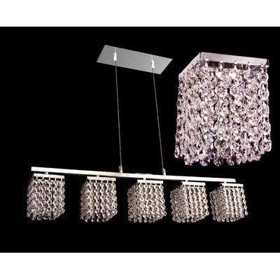 Bedazzle 5-Light Kitchen Island Pendant Crystal: Crystalique-Plus Golden Teak and Clear
