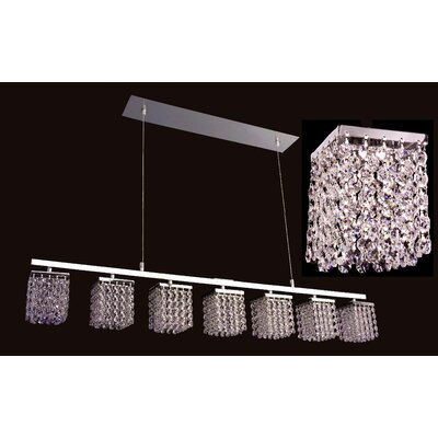 Bedazzle 7-Light Kitchen Island Pendant Crystal: Crystalique-Plus Golden Teak