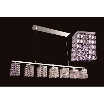 Bedazzle 7-Light Kitchen Island Pendant Crystal: Crystalique-Plus Squares