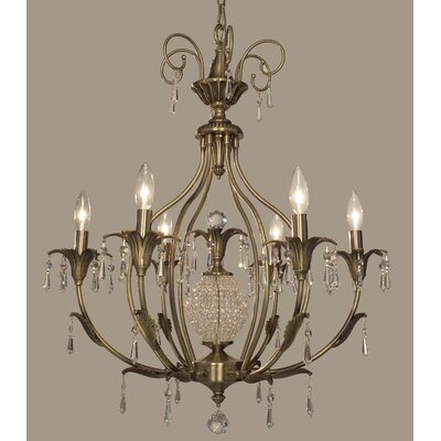 Sharon 6-Light Crystal Chandelier Finish: Antique Brass, Crystal Type: Crystalique-Plus