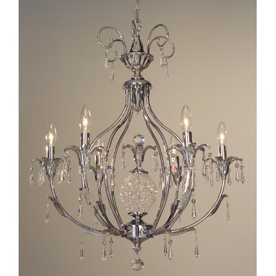 Sharon 6-Light Crystal Chandelier Crystal Type: Crystalique-Plus, Finish: Chrome