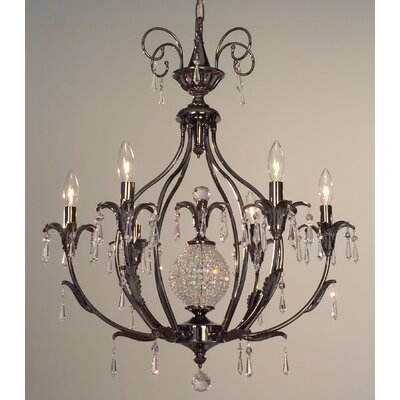 Sharon 6-Light Crystal Chandelier Crystal Type: Crystalique-Plus Smoke, Finish: Ebony Pearl