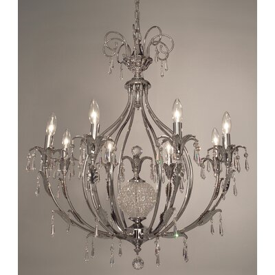 Sharon 8-Light Crystal Chandelier Crystal Type: Crystalique-Plus, Finish: Ebony Pearl