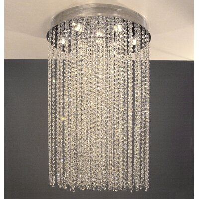 Crystal Rain 10-Light Flush Mount Height: 36, Crystal Type: Crystalique-Plus