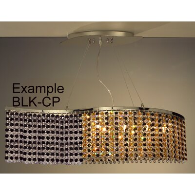 Bedazzle 8-Light Kitchen Island Pendant Crystal: Crystalique-Plus Black