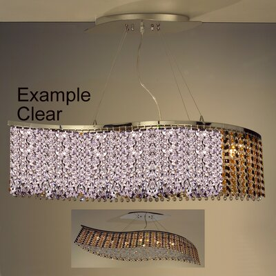 Bedazzle 8-Light Kitchen Island Pendant Crystal: Swarovski Elements Bourdeax Red and Clear