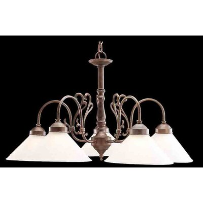 Billings 5-Light Shaded Chandelier Shade Glass: Clear Glass, Finish: White w/ Polished Bronze