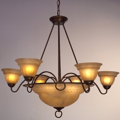 Livorno 9-Light Pendant Finish: English Bronze with Cream glass