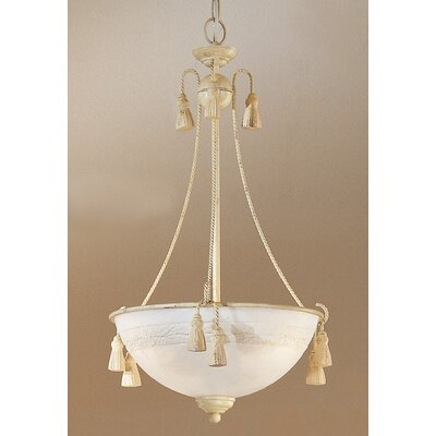 Rope and Tassel 3-Light Bowl Pendant Finish: Ivory