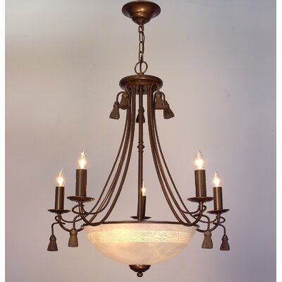 Rope and Tassel 8-Light Candle-Style Chandelier Finish: Bronze